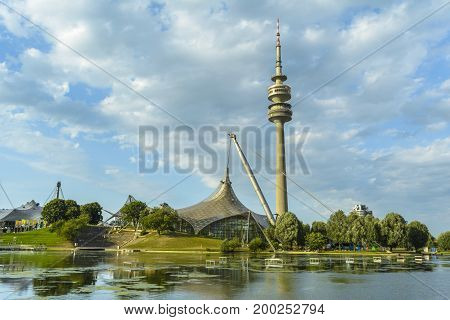 MUNICH GERMANY - AUGUST 15 2015: The Olympia-Tower is located directly in the former Olympic Village and thus it is surrounded by extensive green areas and provides a multifaceted range of sports and leisure facilities.