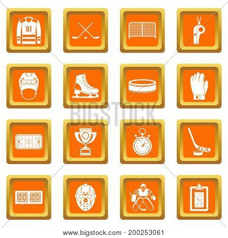 Hockey icons set in orange color isolated vector illustration for web and any design