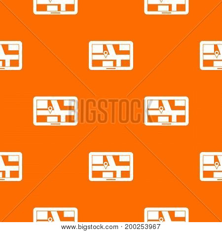 Navigation pattern repeat seamless in orange color for any design. Vector geometric illustration