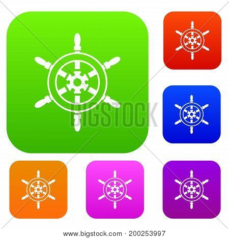 Wheel of ship set icon in different colors isolated vector illustration. Premium collection