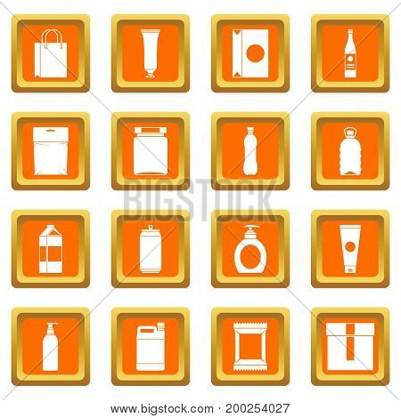 Packaging items icons set in orange color isolated vector illustration for web and any design