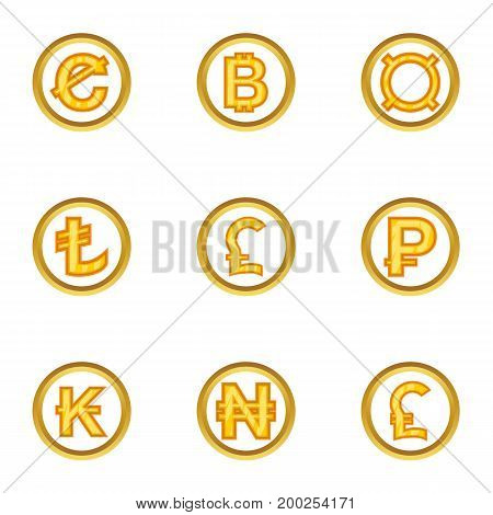 Currency icon set. Cartoon style set of 9 currency vector icons for web isolated on white background