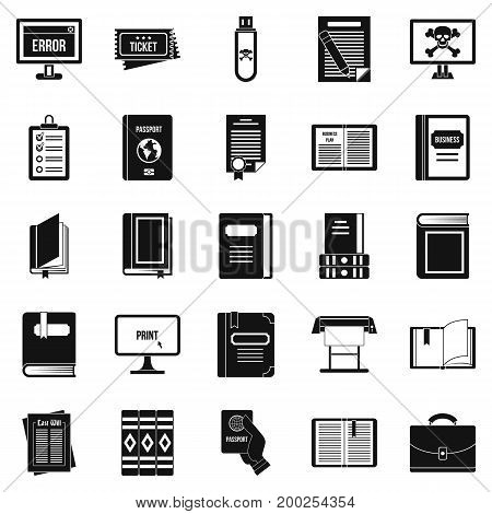 Document icons set. Simple set of 25 document vector icons for web isolated on white background
