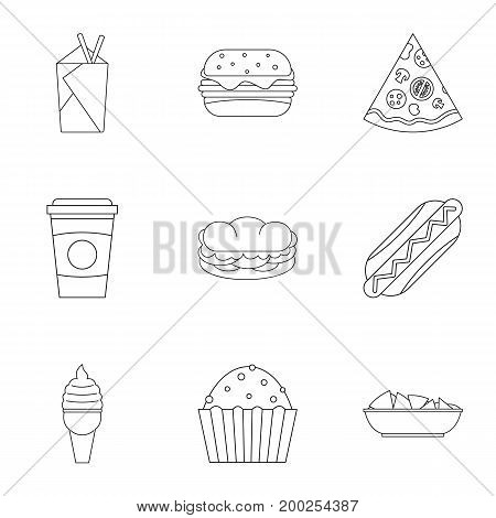 Tasty fast food icon set. Outline style set of 9 tasty fast food vector icons for web isolated on white background