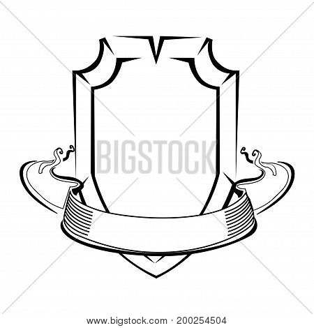 Vintage shield with ribbon. An empty label. Vector illustration.
