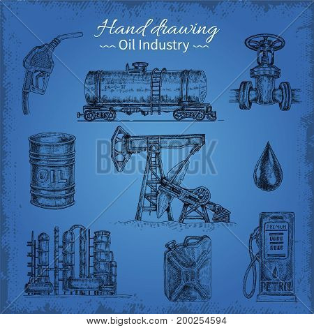 Isolated hand drawn oil industry icon set with oilcan cistern fuel column elements on blue background vector illustration