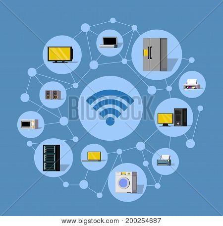 Wireless technology round composition with modern electronic smart gadgets appliances and devices isolated vector illustration