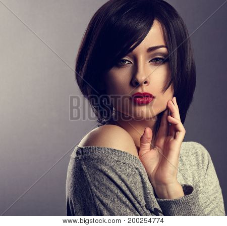 Beautiful Makeup Elegant Sexy Woman With Bob Short Hair Style And Red Lipstick Posing On Dark Shadow