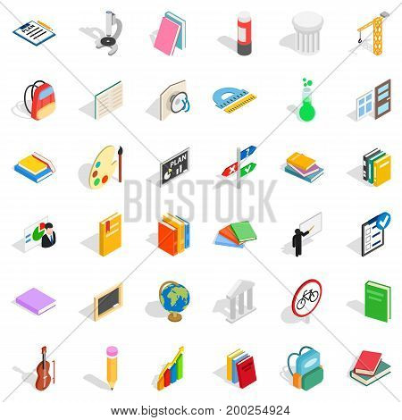 Good education icons set. Isometric style of 36 good education vector icons for web isolated on white background