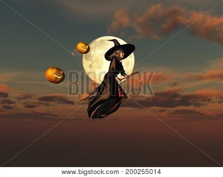 3d illustration of a witch on a broomstick and jack-o'-lanterns