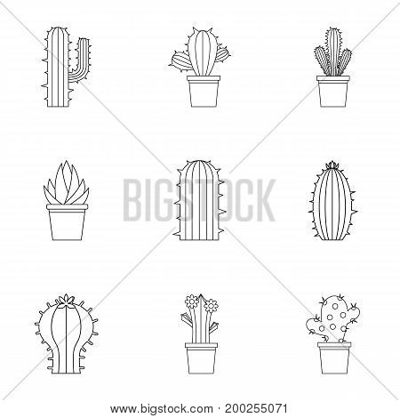 Cactus plant icon set. Outline style set of 9 cactus plant vector icons for web isolated on white background