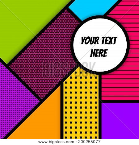 Cartoon funny vintage strip mock up. Vector geometric halftone illustration. Blank rectangle Lichtenstein, comic advertise text, speech bubble. Pop art comics book magazine cover template.
