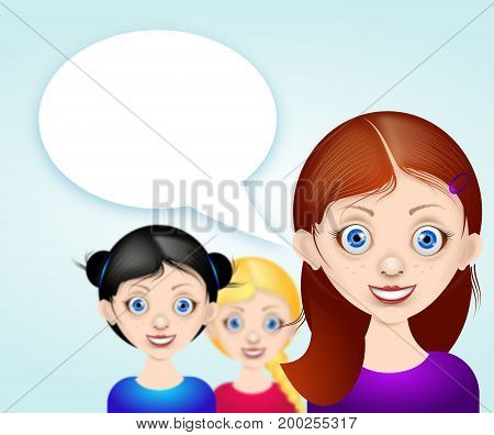 Illustration of girls avatar with blank white speech bubble