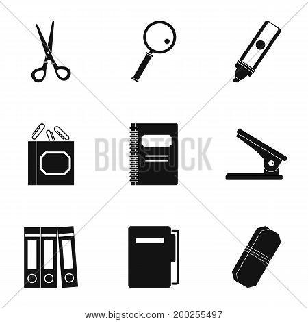 Stationery symbols icon set. Simple style set of 9 stationery symbols vector icons for web isolated on white background