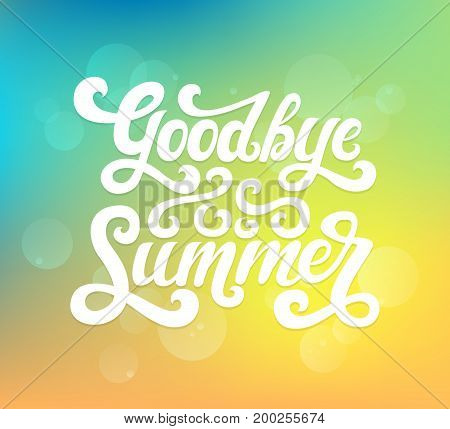 Vector illustration of Goodbye Summer text. Goodbye summer lettering vector. Calligraphy text isolated on background with rays. Typography for photo overlay/ t-shirt print/poster design/greeting card