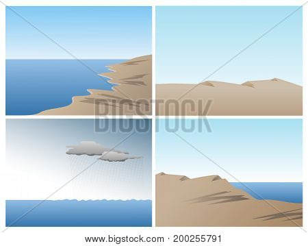 Scene vector set with ocean, sand dunes and hills