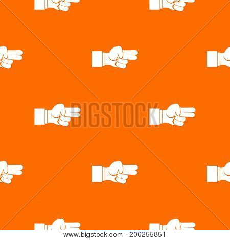 Hand showing two fingers pattern repeat seamless in orange color for any design. Vector geometric illustration