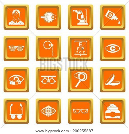 Ophthalmologist tools icons set in orange color isolated vector illustration for web and any design
