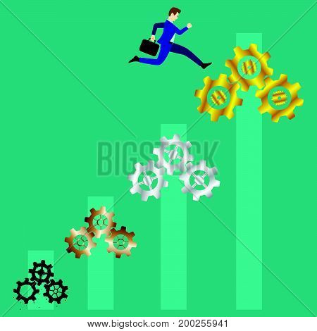 Business Concept As A Businessman Is Highly Jumping Up From Rusty Bronze Silver To Gold Cogwheels Respectively With Bar Graph As Background. It Means Changing A Process To Be Better More And More.