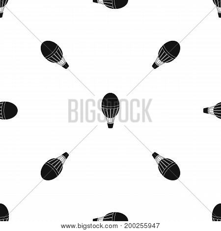 Hot air balloon pattern repeat seamless in black color for any design. Vector geometric illustration