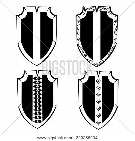 Vintage set of shields with spikes and ornaments. Vintage vector set with ornament and design elements.