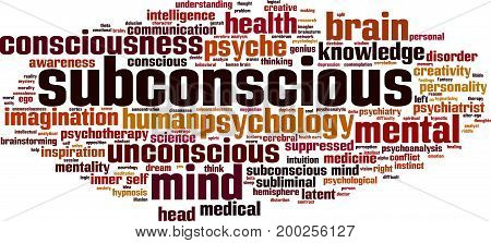 Subconscious word cloud concept. Vector illustration on white