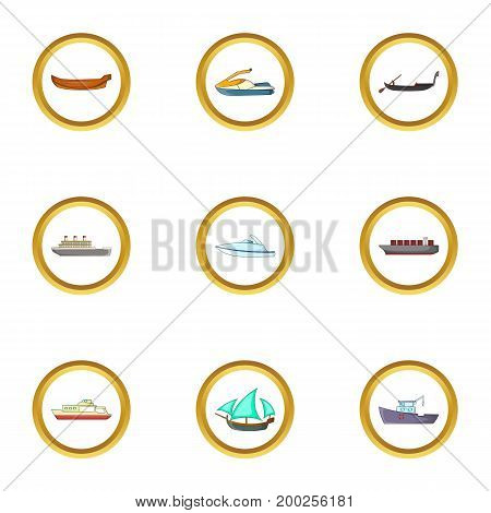 Cruise icons set. Cartoon illustration of 9 cruise vector icons for web design