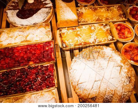 Fresh pastries for sale in a bakery