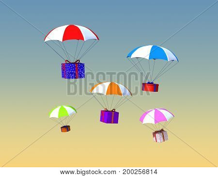3d illustration of colorful parachutes with gifts