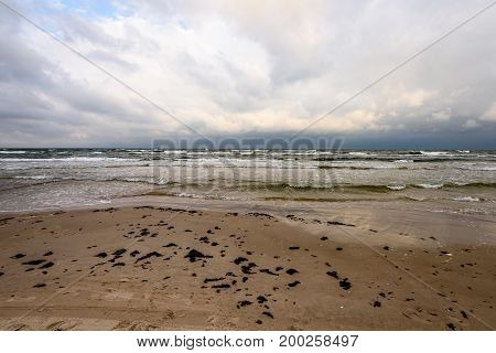 View Of A Stormy Beach In The Morning.