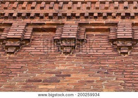 Nineteenth century brick building facade upper decoration