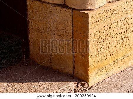 Limestone stonework entrance to a nineteenth century building