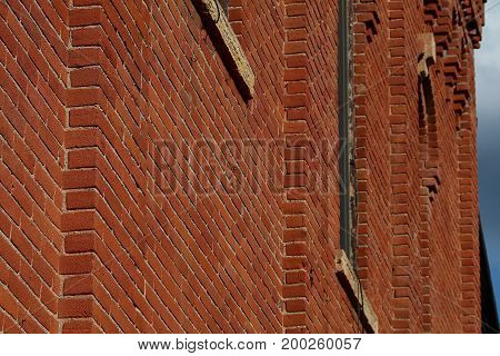 Nineteenth century brick building facade from an angle