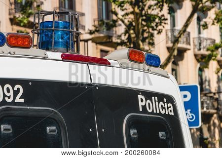 Close Up On A Spanish Police Van