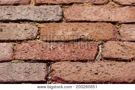 Nineteenth century street brick in place as a background