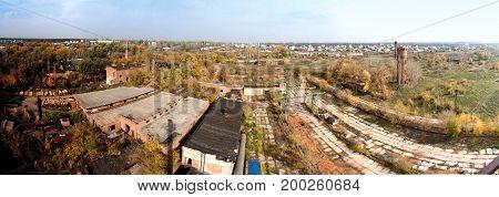 Panorama view of abandoned brick factory in Nikolskoye, Voronezh