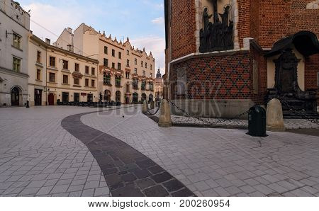 Summer square of the Virgin Mary in Krakow Poland. in the morning
