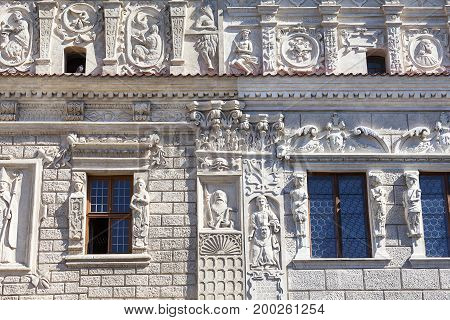 Renaissance tenement houses of st. Nicholas and st. Christopher in the market Kazimierz Dolny Poland. Built in the 17th centurythey have a rich bas-relief decoration the owners were brothers.