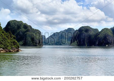 Traveling View Of Green Islands In Halong Bay At Day From A Distance At Sea, Unesco World Heritage S