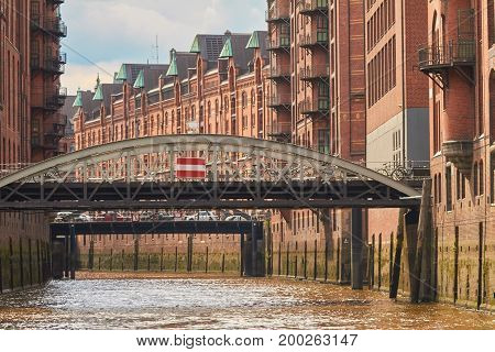 Old warehouses on the river Elbe in Hamburg.