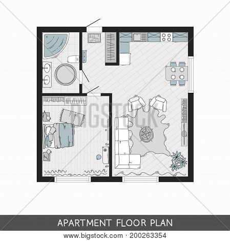 One bedroom apartment with hand-drawn furniture in top view. Vector illustration