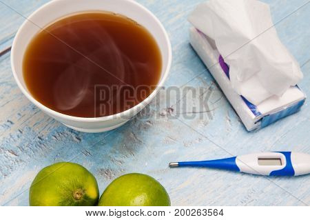 Hot Sugarcane-water (aguapanela) With Lemon For Cold Treatment