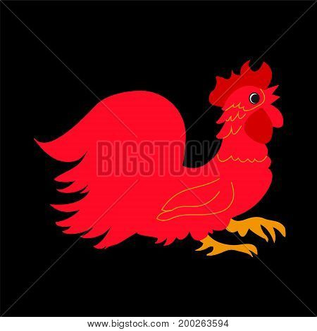 Red rooster on a black background.The symbol of the new year 2017.
