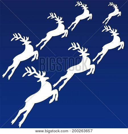 Running deer on a blue background.Postcard for Christmas