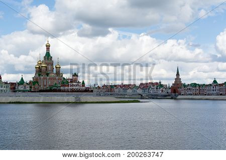 Photo of a view on the embankment of the city of Yoshkar-Ola, Russia