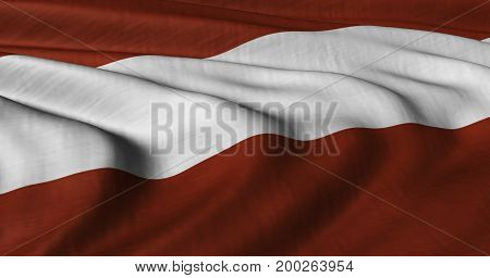 3D illustration of Austrian flag fluttering in strong wind.