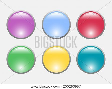 Color buttons set isolated on white background