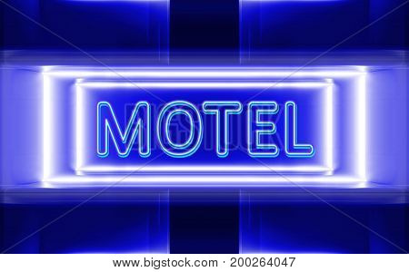 highly technological design of the neon sign of motel