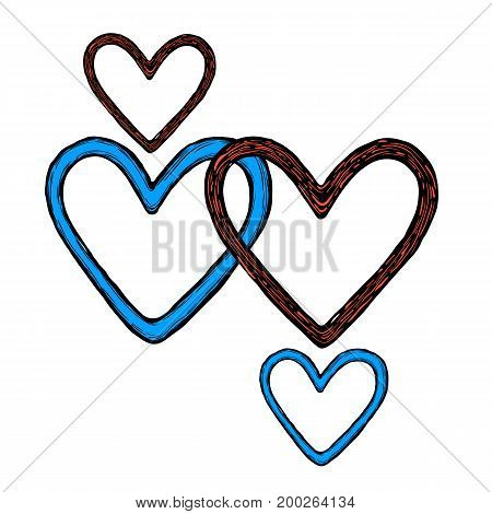 Hand-drawn sketch of a heart with ink isolated on a white background. Vector illustration.