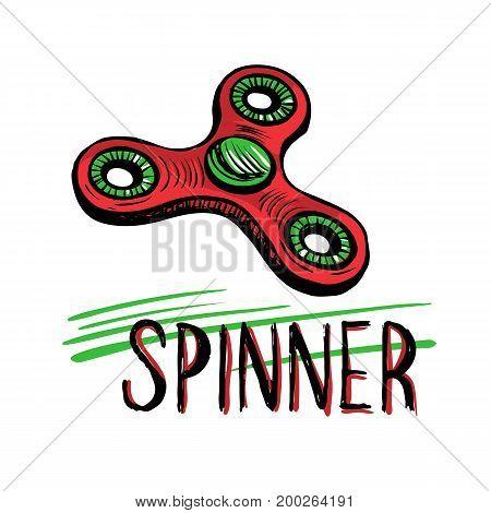 Children toy for hands. Hand spinner tricks. Banner element. Hand drawn sketch vector illustration isolated on white background.